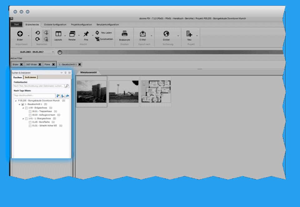 Filtermöglichkeiten in docma PIX